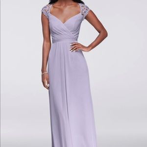 David's bridal lilac long mesh dress with lace